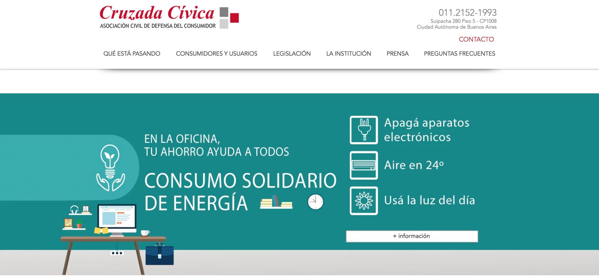 Cruzada Cívica, defensa del consumidor - Sitio