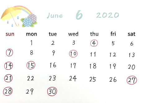 6月の営業日について🐸