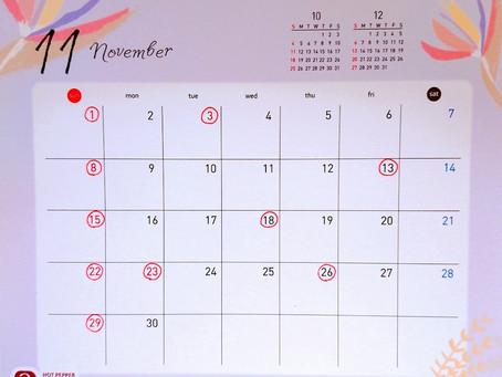 11月の営業日について🍂