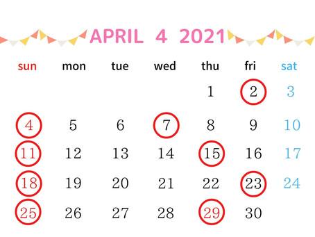 4月の営業日について🌷