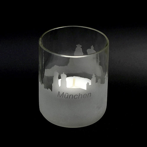 Teelichtglas mit Münchenskyline