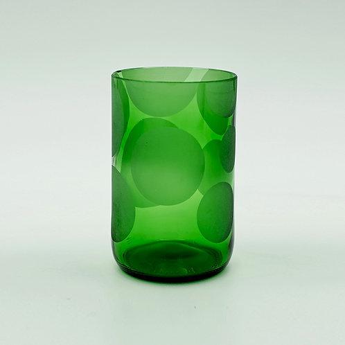 Trinkglas grün Kreise satiniert