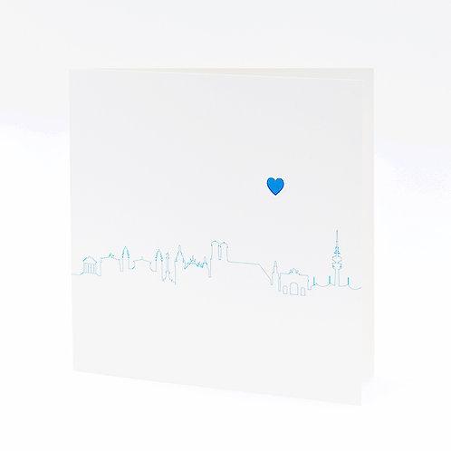 Postkarte Skyline blau