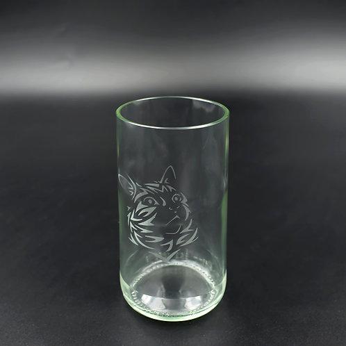 Trinkglas 350 ml mit gestreifter Katze