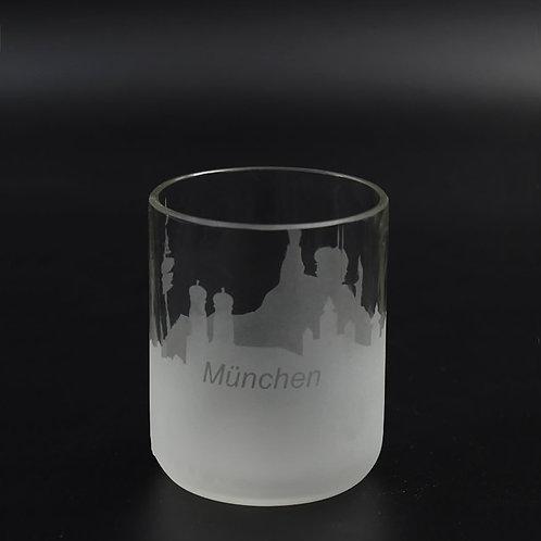 Teelichtglas mit münchner Skyline