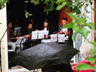 Leading the BSU Ukulele ensemble at the South Bank Arts Trail in Bristol