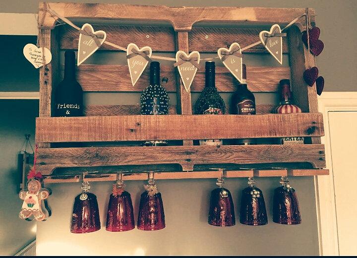 Large handmade rustic wine rack holder