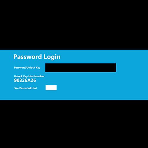 Lenovo ThinkPad 8 10 tablet, UNLOCK KEY HINT NUMBER, Password / Unlock Key