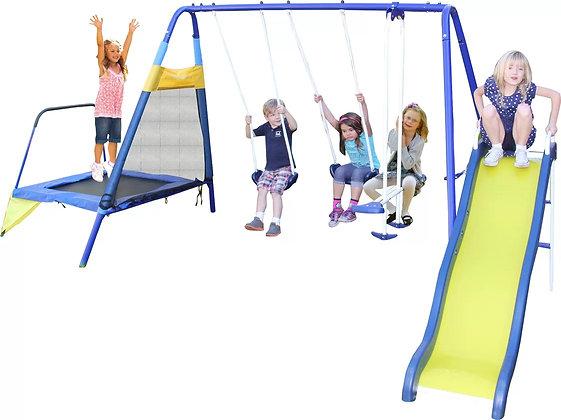 Parque de Metal con Trampolín para 6 Niños