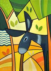 Esel unter Palmen