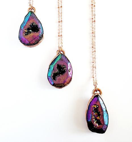 Rainbow Aura Geode Necklace