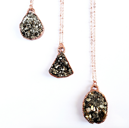 Freeform Pyrite Cluster Necklace
