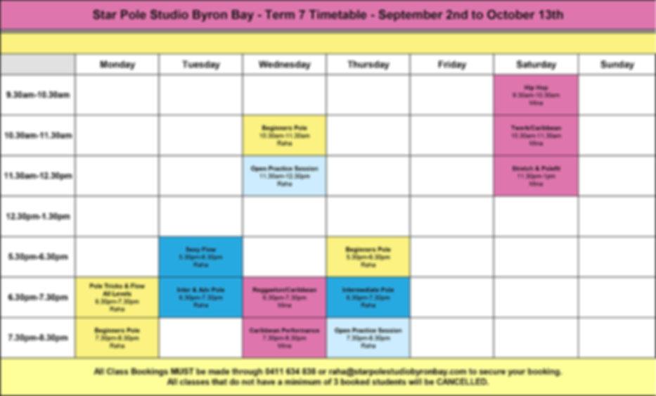 Timetable-T7- Star Pole Studio Byron Bay