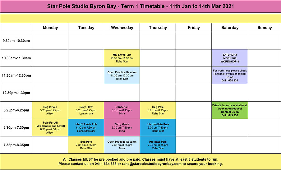 Timetable - Star Pole Studio Byron Bay -