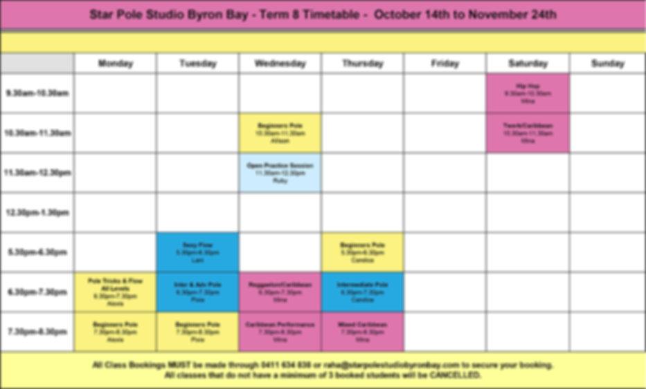 Timetable-T8- Star Pole Studio Byron Bay