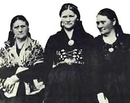 Herdís, María og Ólína Andrésdætur. Mynd: reykholar.is.
