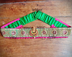 Maggam Work Hip Belt for Lehengas & Sarees in Green & Pink Colour