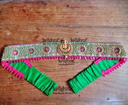 Karigari Work Hip Belt for Lehengas & Sarees in Green & Pink Colour