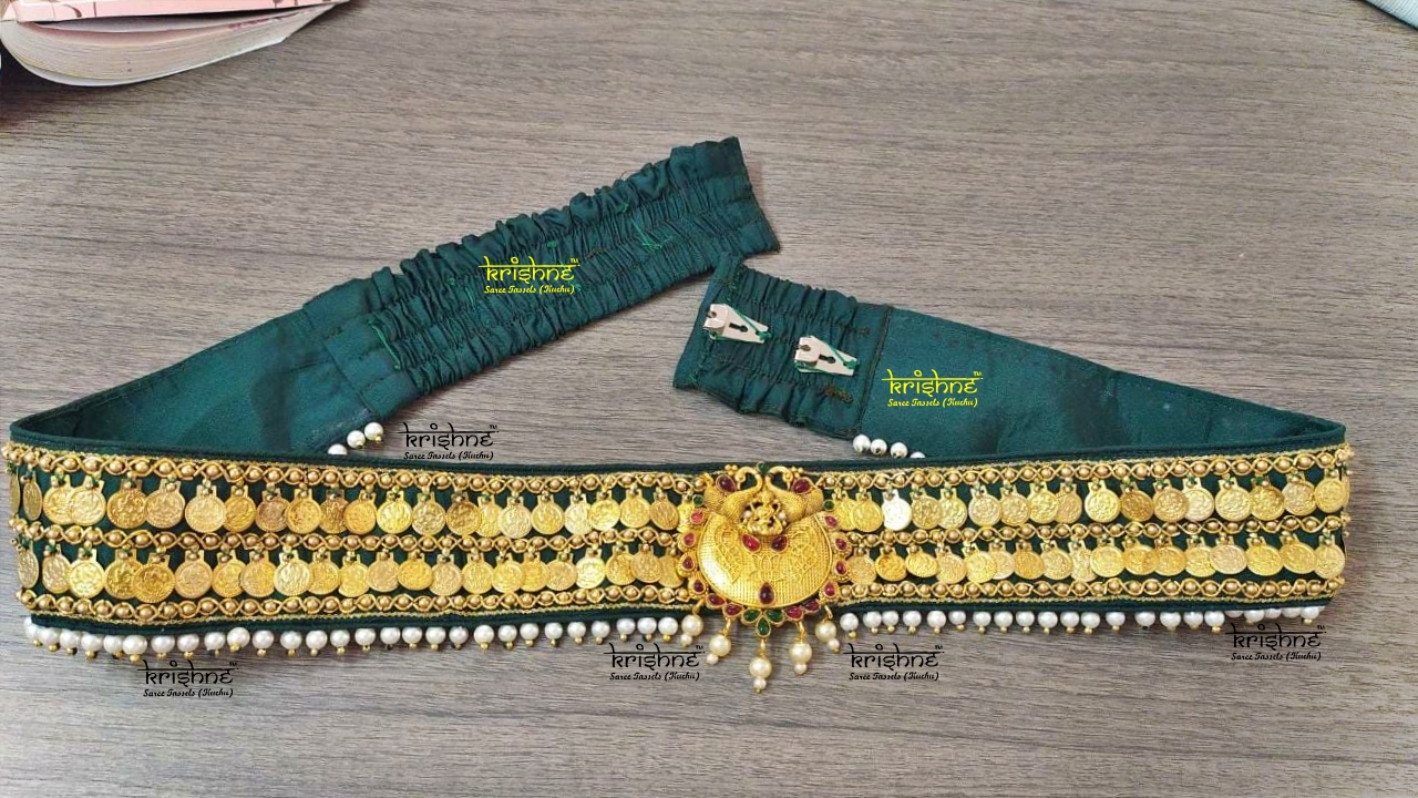 Lakshmi Coin Waist Belt with Pearls