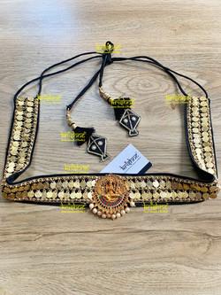 Maggam Work Lakshmi Coin Saree Belt in Black Color