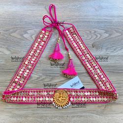 Lakshmi Coin Hip Belt in Pink Color
