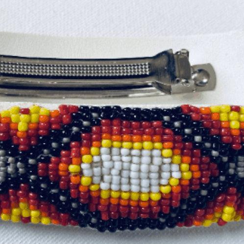 "Beaded Barrette, Native American Indian Design By Sky - Sunrise  1 1/4"" x 4"" w/"