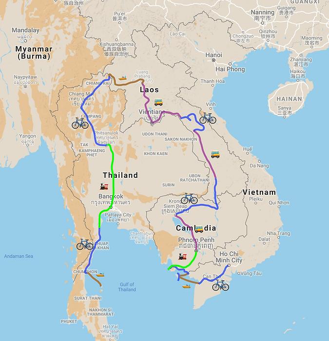Itinéraire Asie du Sud-Est à vélo, Vietnam, Cambodge, Laos, Thaïlane, famille à vélo, voyage à vélo, Guide de voyage Asie du Sud-Est à vélo et en famille, Vietnam, Cambodge, Laos, Thaïlande, voyage à vélo en famille, famille à vélo, livre, itinéraire, carte, Asie à vélo