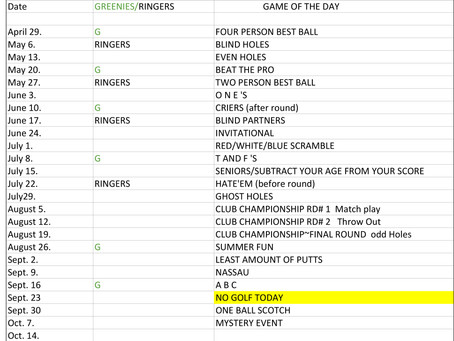 Ladies League Schedule