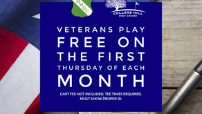Veterans Play FREE on the First Thursday of Each Month at McCann Memorial and College Hill.