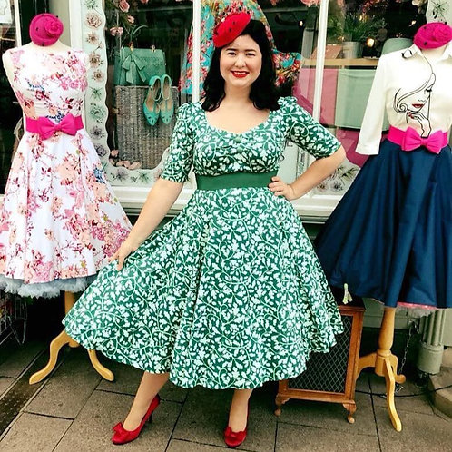 Green Acorn Leaf Swing Dress