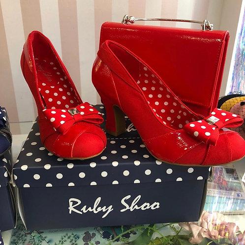 Tara Red Polka Shoe, detachable bow
