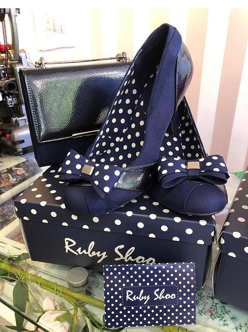 Tara Navy Polka Shoe, detachable bow