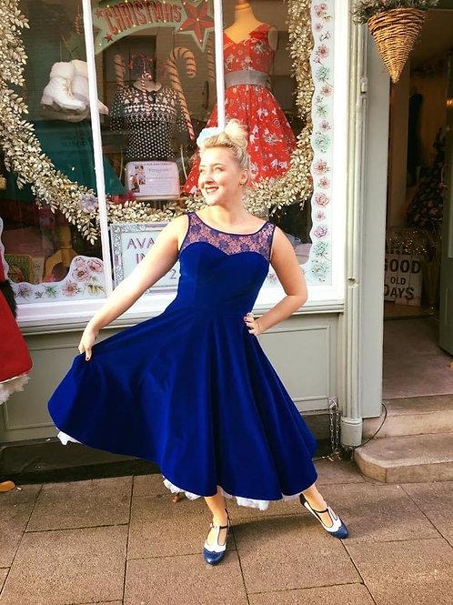 Lace Royal Blue Velvet dress