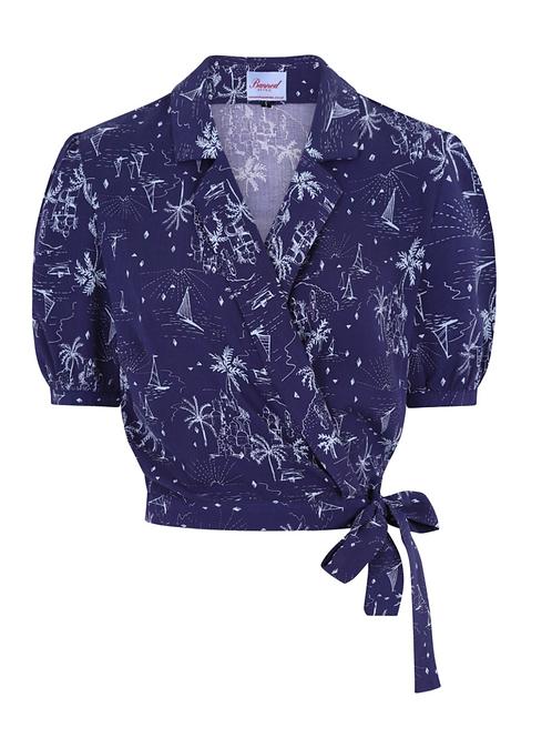 Hawaii navy wrap blouse
