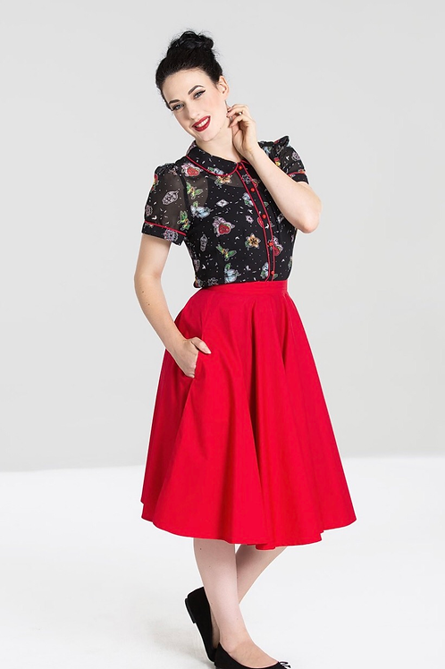 Red Doris Swing Skirt