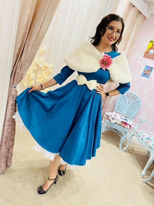 Arabella in Teal swing dress