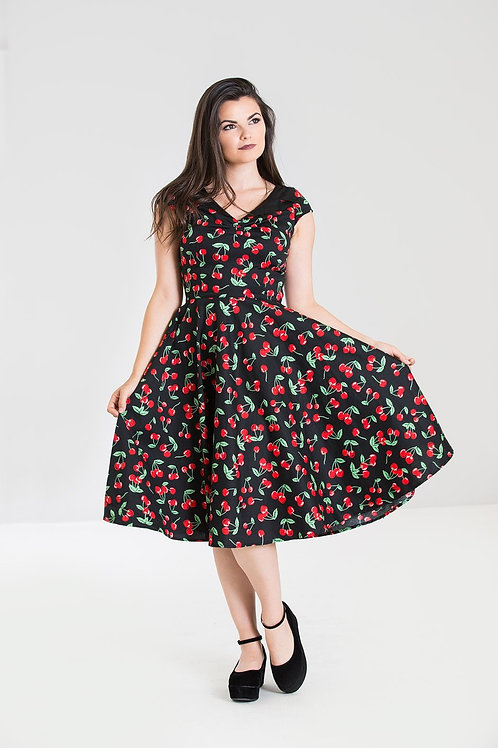 Cherry Pop Swing Dress with back buttons