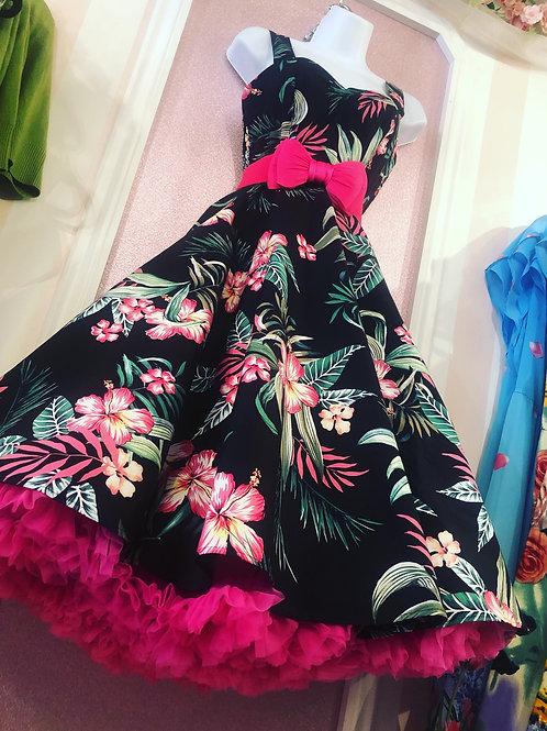 Black Aloha Swing Dress