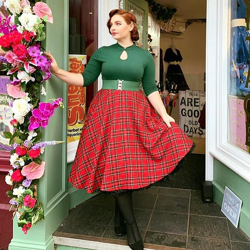 Red Tartan Teaser Swing Skirt