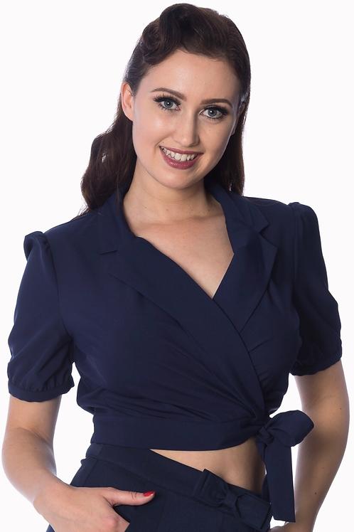 Navy Sandy wrap blouse