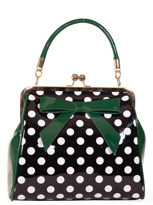 Green polka patent Bow Bag
