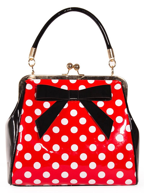 Red polka patent Bow Bag