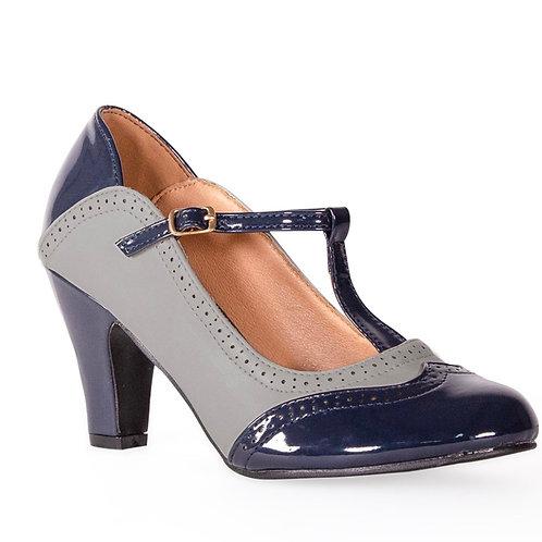 Navy/Grey T Bar Shoe