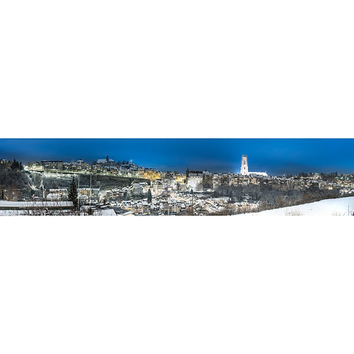 "TABLEAU TOILE VERNIE | ""Fribourg - Panorama II"""