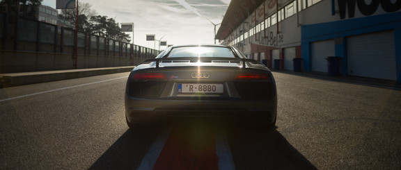Audi R8 racing track gray back