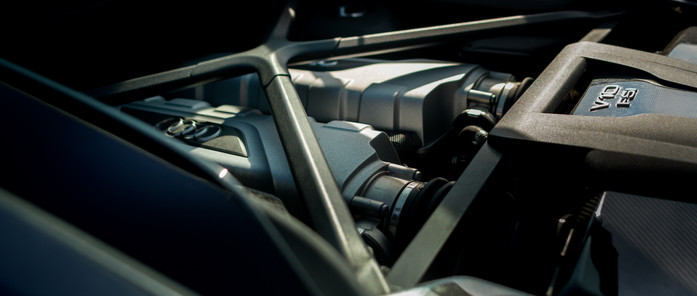 Audi R8 racing track gray interior detail engine