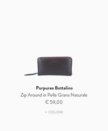 Zip Around in Pelle Grana Naturale