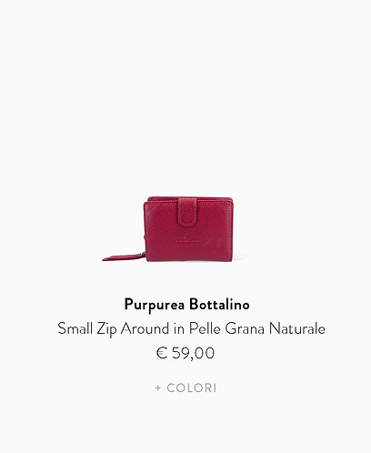 Small Zip Around in Pelle Grana Naturale