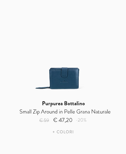 Small Zip Around in Pelle Grana Naturale