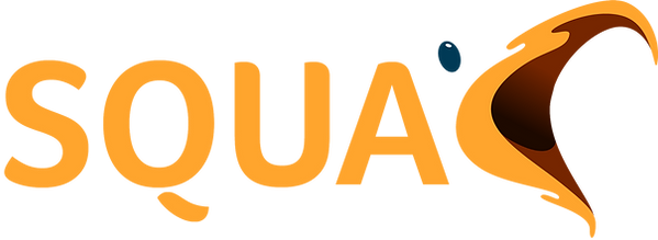 SQUAC logo - made up of the words SQUA and the C is a birds beak